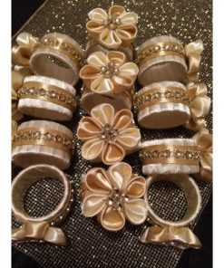 DECORATIVE NAPKIN RINGS CHAMPAGNE BEIGE SATIN