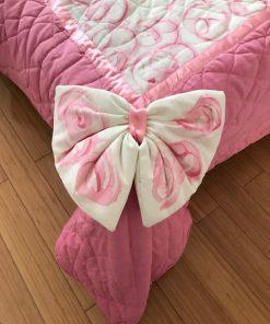 Dečiji prekrivač Roze štepani saten mašna