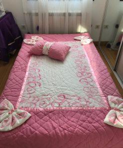 Dekorativni prekrivači i štep deke Ručno slikani roze saten