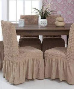rastegljiva navlaka za stolicu lešnik boja