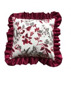 Dekorativni cvetni jastuk sa satenskim karnerom