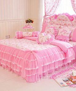Prekrivač za krevet Snovi u ružičastom od pamuka i organdina