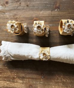 Decorative napkin rings with crystal flower