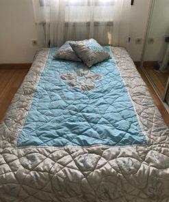 Alnada unikatni prekrivači za krevet Plavi saten