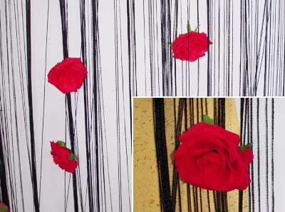 Končane zavese Crna sa ružama