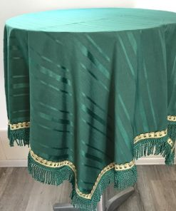 Alnada Green satin tablecloths with tassels