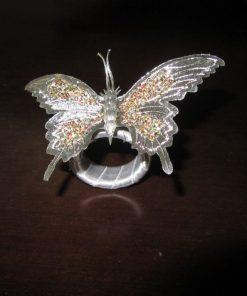 Prsten za salvete srebrni leptir