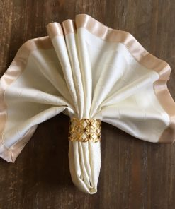 Damask Napkins with Satin Ribbon Beige with weave crowns