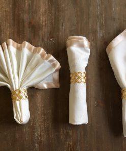 Salveta od damasta Bež krunice sa prstenovima