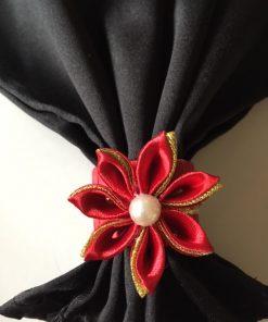 Svečani prstenovi za salvete Rubin crveni sa zlatnom trakom