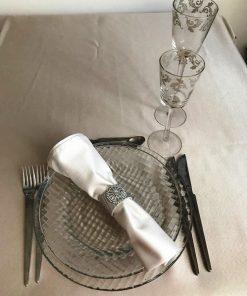 Alnada svečani stolnjak damast saten sivo bež