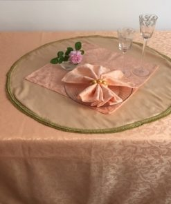 Alnada Festive Damask Tablecloth Apricot Color