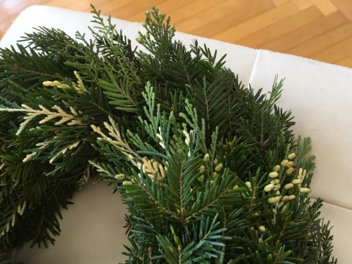 Advent venac Božićna zvezda zimzelene grane