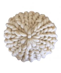 Ručno pleteni okrugli jastuk Bež natur