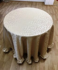Okrugli damastni stoljnjak Zlatni žakard teflon