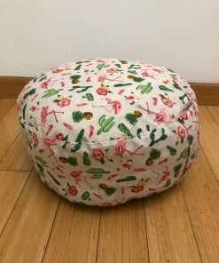 Okrugli joga jastuk tabure flaminzi i kaktusi