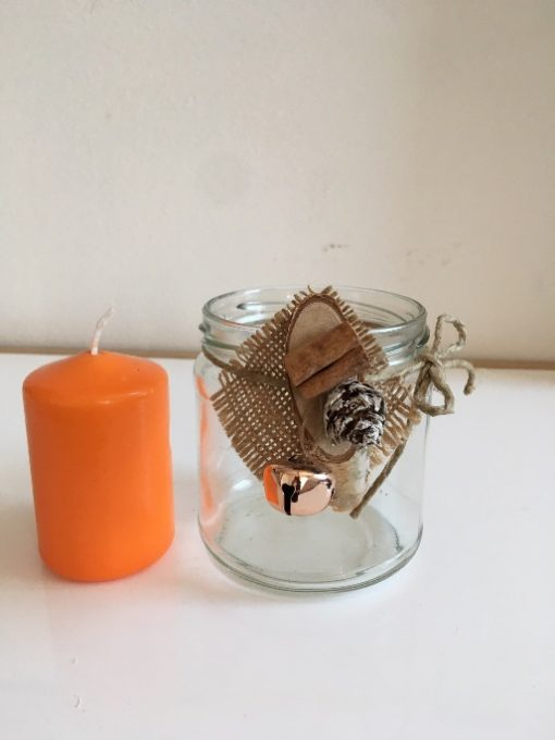Tegla svećnjak Breza i cimet sa svećom detalj