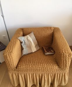 Elastic cover for armchairs  yellow ocher