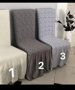 Stretch cotton jacquard chair covers in neutral colors