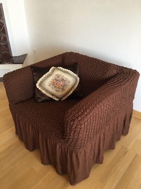 Elastične univerzalne navlake za fotelje Braon