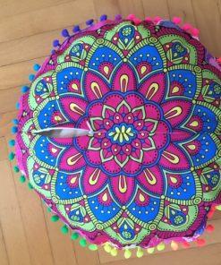 Okrugli zafu jastuk mandala sa pomponima